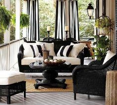 wicker furniture with stripes cushions in white and blue colors