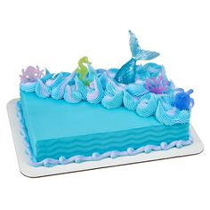 This Mermaid Sea Life Tail cake decoration Decoset cake topper set is just one of the custom, handmade pieces you'll find in our party favors shops. Birthday Sheet Cakes, Mermaid Birthday Cakes, Birthday Cake Girls, Cinderella Birthday Cakes, Mermaid Tail Cake, Mermaid Cupcakes, Sirenita Cake, Pastel Rectangular, Little Mermaid Decorations