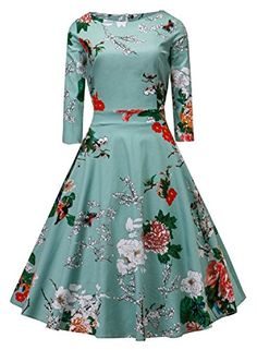 VOGTAGE 1950's Long Sleeve Retro Floral Vintage Dress with Defined Waist Design S Size