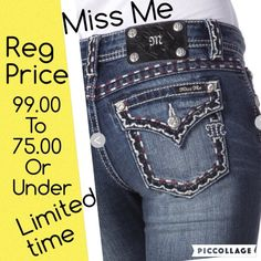 MISS ME DENIM SALE NWT MISS ME Denim jeans blowout sale. All my regular price jeans for 99.00 are now 75.00 or less. Overalls and jackets are excluded  Miss Me Jeans