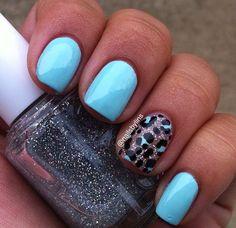 sky blue leopard nail design