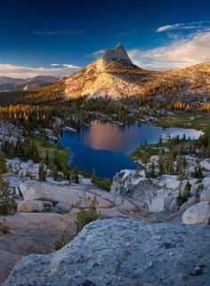 Upper Cathedral Lake, Yosemite National Park, USA by Marina Bass - Sunset over…