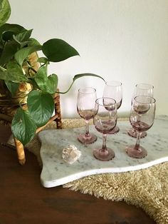 Just say no to boring glassware: this delicate vintage lavender set will turn every gathering into a special event.