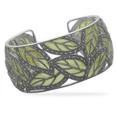 Marcasite Green Leaf Cuff Bracelet Green epoxy and marcasite in a cut out  leaf design cuff bracelet. Cuff measures Sterling Silver, Style no. 7b6dcab105b