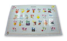 Alphabet Disposable Placemat part of the following product:  Alphabet & Numbers Disposable Placemats 60-Count (2 Designs) BPA FREE Table Topper for Baby and Toddlers'  - TWO EDUCATIONAL DESIGNS : 30 x Alphabet and 30 x Numbers - Large 12×18 placemats that attach with 4 adhesive strips.  Note: Receive instant coupons upon subscription on funtreebooks.com.