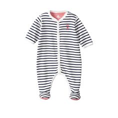 Baby Boy Cotton Crawler With Sailor Stripes | Petit Bateau