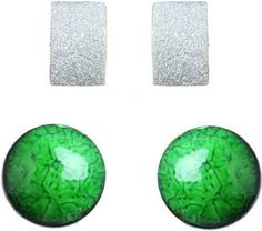 Waama Jewels Combination of Charming Green Silver Plated And White Color Gold Plated Stud Brass Stud Earring