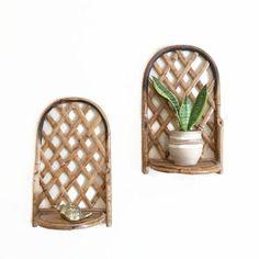 Vintage Tortoise Shell Bamboo Shelves / Folding by VintageGirlHome