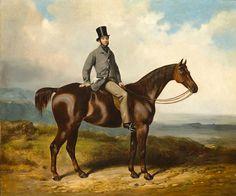 Henry Barraud (British, 1811-1874) A gentleman on a bay hunter.