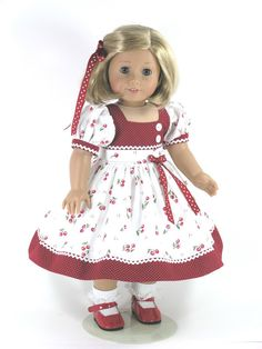 18 inch Doll Clothes fit American Girl - Dress, Bloomers, Hair Ribbon…