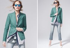 J.Crew's teal pairing with washed out, cropped denims and a white navy-accented shirt. Win-win-win!