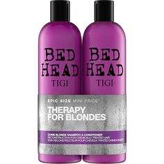 Bed Head by Tigi Dumb Blonde Shampoo and Reconstructor Conditioner Set contains a 750 ml shampoo and 750 ml conditioner. Shampoo and conditioner for blonde hair. Hair Shampoo, Shampoo And Conditioner, Blonde Back, Color Safe Shampoo, Bed Head Dumb Blonde, Hair Jazz, Toning Shampoo, Longer Hair Faster, Nourishing Shampoo