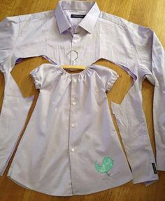 Make a cute little girls dress out of an old mens button down shirt! This would be cute to make Adilee a dress out some of my dads old shirts.Funny pictures about Recycling Old Shirts. Oh, and cool pics about Recycling Old Shirts. Baby Outfits, Toddler Outfits, Kids Outfits, Old Shirts, Dad To Be Shirts, Sewing Clothes, Diy Clothes, Clothes Patterns, Sewing Patterns