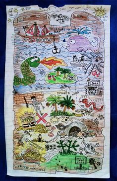 You Are Lost. Treasure map for the kids. Pen & coloured pencil doodle on lined office paper. Artist's collection.