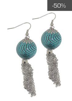 #kookai #jewels - Orecchini con pendenti verde acqua e catenelle a maglia piccola