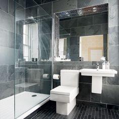 dark gray bathroom tile