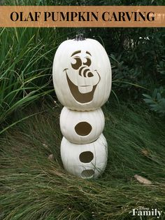 Create your own jack-o'-lantern inspired by the lovable snowman from Disney's Frozen. The great thing about this Olaf Pumpkin Carving? He won't melt.