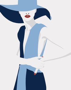 Last of the blue series Woman Illustration, Retro Illustration, Portrait Illustration, Illustrations, Illustration Fashion, Fashion Painting, Fashion Art, Malika Fabre, Fashion Photography Art