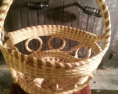 Sweet grass large crossed handle looped basket/ carolinasweetgrass@etsy.com - Edit Listing - Etsy