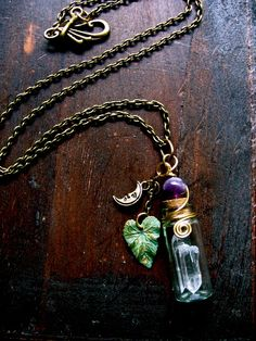 Jewelry Pagan Wicca Witch:  Crystal Bottle #Pendant with Spiral, Crescent Moon, and Leaf.