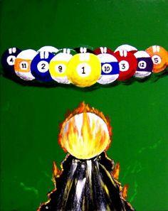 UNIQUE BILLIARDS POOL ART DECOR Painting at ArtistRising.com