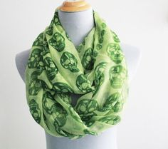 Fresh Green Abtract Skull Infinity Scarf Lime Green Skull Aztec Infinity Scarf