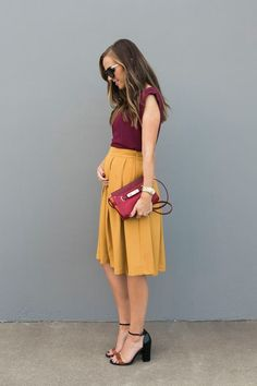 BERRY AND MUSTARD COLOR BLOCKING