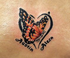 butterfly tattoos with names | 2007 Tattoo Color Lettering Tattoo Tribal  cute idea!