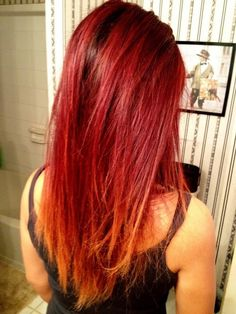 Red Blonde Ombre Hair :)