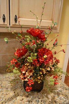 Deep Red And Gold Poppy Arrangement by kristenscreations on Etsy Large Flower Arrangements, Silk Floral Arrangements, Flower Centerpieces, Flower Vases, Flower Pots, Fall Flowers, Diy Flowers, Beautiful Flowers, Church Flowers