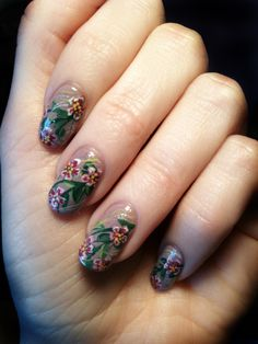 Flowing flower on a homemade lilac polish... Yes, I frankenpolish too!
