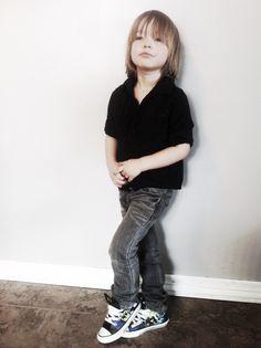 Boy style with Batman kicks for a pop of color. Shirt: Mexx, Jeans: Gap, Shoes: Converse.  Little boy fashion.