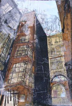 Fishmarket Close, Royal Mile Edinburgh, Study Collage with Monoprint - Lucy Jones Architecture Sketchbook, Architecture Collage, Art Sketchbook, Collages, Collage Art, Landscape Prints, Urban Landscape, Photocollage, Building Art