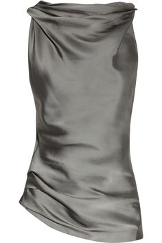 Cowl-neck matte-satin and jersey top by Donna Karan
