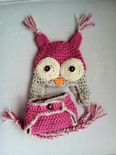 Crochet owl hat with diaper cover  Diaper cover pattern found here:  http://www.etsy.com/listing/62061045/crochet-pattern-diaper-cover-0-24-months  Owl hat pattern found here:  http://daisycottagedesigns.blogspot.com/2011/07/free-owl-hat-crochet-pattern.html