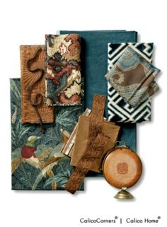 Pheasant Hunt Fabric Collection Calico Home. This look is most professional with a slash of bright color