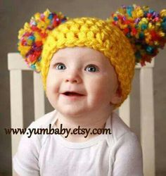 Items similar to Toddler Baby Girl Hat Chunky Yellow Pink White Blue Purple pastel Crochet Knit Infant Double Pom Pom Beanie Photography Prop on Etsy - knitting christmas Baby Girl Hats, Girl With Hat, Baby Girl Fashion, Crochet Baby Hats, Crochet Beanie, Baby Knitting, Crochet Toddler, Beginner Knitting, Booties Crochet