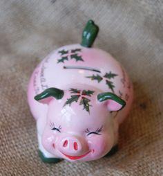 A super cute vintage Kreiss Christmas piggy bank. #vintage #1950s #Christmas #piggy_bank