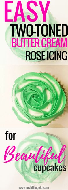 How-to: Beautiful two toned buttercream rose icing for cupcakes. This recipe includes a nice Asian twist with Pandan flavor! Rose Icing, Buttercream Roses, Cupcake Recipes, Dessert Recipes, Sweet Desserts, Cupcake Icing, Frosting, Tips To Be Happy, Beautiful Cupcakes
