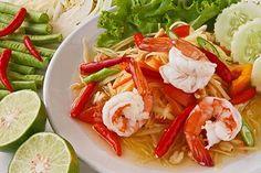 Green papaya salad with shrimp (traditional and modern thai food)  http://shutterstock.com/g/piyachok