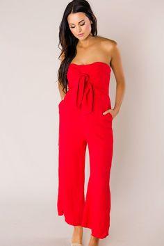 f894e1c3539 Red Strapless Tie Front Jumpsuit - Final Sale. Dottie Couture Boutique ...