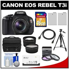 """Canon EOS Rebel T3i Digital SLR Camera Body & EF-S 18-55mm IS II Lens + 16GB SDHC Card + Case + Tripod + 2 Batteries + Filters + HDMI Cable + Tele/Wide Lens Kit by Canon. $709.95. Kit includes:♦ 1) Canon EOS Rebel T3i Digital SLR Camera & EF-S 18-55mm IS II Lens♦ 2) Transcend 16GB Class 10 SDHC Card♦ 3) Spare LP-E8 Battery♦ 4) Additional Spare LP-E8 Battery♦ 5) Precision Design 1000 Deluxe Camera Case♦ 6) Precision Design 58"""" Tripod with Case♦ 7) Precision..."""