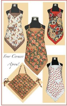 Four Corners Apron. New project to teach niece in her desire to mefrusat mutfak önlük learn to sew. Vintage Apron Pattern, Apron Pattern Free, Aprons Vintage, Retro Apron Patterns, Quilt Pattern, Sewing Aprons, Sewing Clothes, Diy Clothes, Clothes Women