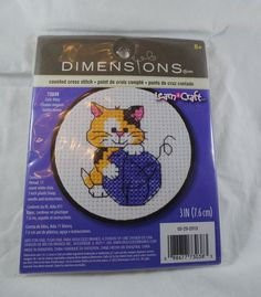 Dimensions Counted Cross Stitch Kit Cute Kitty  #Dimensions #CountedCrossStitchKit #CuteKitty #Craft  #SuppliesTools  #Patterns  #embroiderykit  #Vintage #Kit