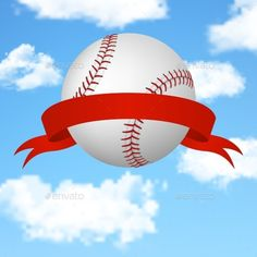 Baseball Background (JPG Image, Vector EPS, CS, 3d, background, ball, banner, baseball, blue, clouds, competition, day, fly, game, nature, net, outdoor, play, red, ribbon, sky, softball, sport, sports, sports background, success, summer, sunny, team, vector, victory, white, wide)