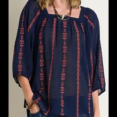 Crinkled 3/4 Sleeve Top Style 1221 Size Large- Navy Square Neck Top 55% Cotton, 45%PolyesterDry Clean Only Price is firm unless bundledNo Trades A Girl Named Jax Tops