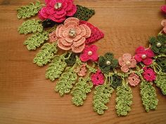 pink and green crochet necklace bib flower by PashaBodrum on Etsy, $35.00