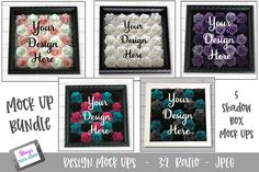 """Mock Up Bundle- Rolled flower shadow box - 5 Mock Ups. This Rolled flower shadow box mock up bundle comes with 5 mock up photos. Each photo is 3000 x These are flattened jpg images (without """"your design here"""" ) and with no psd layers. Flower Shadow Box, Flower Boxes, Box Mockup, Bottle Mockup, Box Design, School Design, Design Bundles, Branding, Website"""