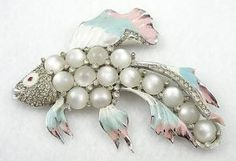 Coro Moonglow Fish Brooch - Garden Party Collection $460.00