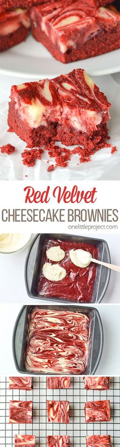 These red velvet cheesecake brownies are AMAZING! Perfectly marbled with creamy . - These red velvet cheesecake brownies are AMAZING! Perfectly marbled with creamy cheesecake filling, - Köstliche Desserts, Delicious Desserts, Yummy Food, Healthy Desserts, Amazing Dessert Recipes, Amazing Deserts, Finger Desserts, Italian Desserts, Finger Foods